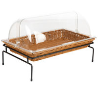 Natural Rectangular Wicker Merchandising Basket with Lid and Metal Stand - 20 1/2 inch x 12 1/2 inch