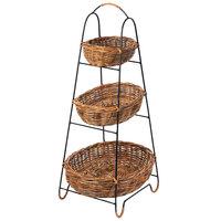 Natural 3 Tier Round Wicker Merchandising Basket Rack - 15 inch x 37 inch