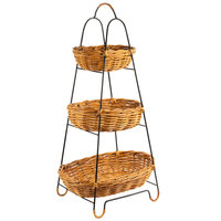 Natural 3 Tier Round Wicker Merchandising Basket Rack - 15 inch x 37 inch