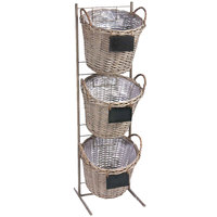 3 Tier Round Ash Wicker Display Basket Rack with Metal Signs - 13 inch x 45 inch