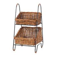 Natural 2 Tier Rectangular Wicker Merchandising Basket Rack with Handles - 11 inch x 23 inch