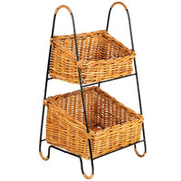 Natural 2 Tier Rectangular Wicker Merchandising Basket Rack with Handles - 11 inch x 23 inch