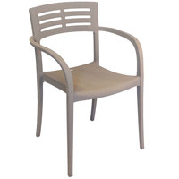 Grosfillex US633181 / US336181 Vogue French Taupe Resin Stackable Armchair