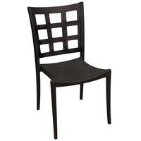 Grosfillex US646017 / US647017 Plazza Black Sidechair with Window Back