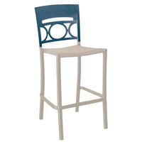 Grosfillex US654680 / US456680 Moon Linen Aluminum Stackable Armless Barstool with Denim Blue Back