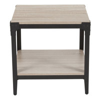 Flash Furniture NAN-JH-17100ET-GG Northvale 20 1/4 inch x 20 1/4 inch x 20 1/4 inch Oak 2 Level End Table with Black Metal Legs