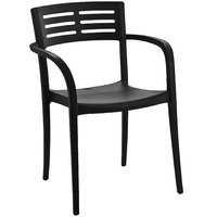 Grosfillex US633017 / US336017 Vogue Black Resin Stackable Armchair