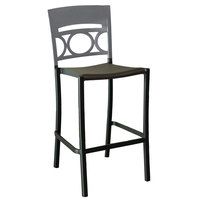 Grosfillex US654579 / US456579 Moon Charcoal Aluminum Stackable Armless Barstool with Titanium Gray Back