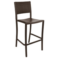 Grosfillex US927037 / US987037 Java Bronze Aluminum Stackable Barstool with Wicker Back
