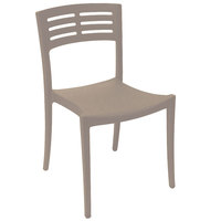 Grosfillex US637181 / US738181 Vogue French Taupe Outdoor / Indoor Stackable Sidechair