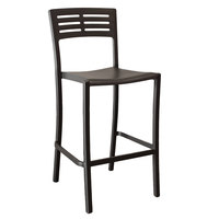 Grosfillex US638017 / US739017 Vogue Black Outdoor / Indoor Stackable Barstool