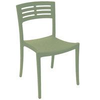 Grosfillex US637721 / US738721 Vogue Sage Green Outdoor / Indoor Stackable Sidechair
