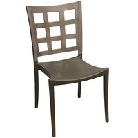 Grosfillex US646579 / US647579 Plazza Charcoal Sidechair with Titanium Gray Window Back