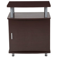 Flash Furniture NAN-JH-1704-GG Markham 19 3/4 inch x 13 1/2 inch x 24 1/2 inch Espresso Side Table with 1 Cabinet and Chrome Frame