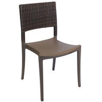 Grosfillex US925037 / US985037 Java Bronze Resin Stackable Sidechair with Wicker Back