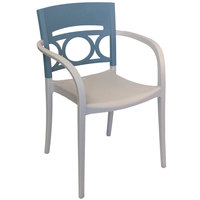 Grosfillex US655680 / US566680 Moon Linen Stackable Armchair with Denim Blue Back