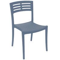 Grosfillex US637680 / US738680 Vogue Denim Blue Outdoor / Indoor Stackable Sidechair
