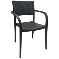 Grosfillex US926002 / US986002 Java Charcoal Resin Stackable Armchair with Wicker Back