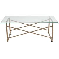 Flash Furniture NAN-JH-1796CT-GG Mar Vista 47 1/4 inch x 23 1/2 inch x 18 1/2 inch Glass Coffee Table with Matte Gold Frame