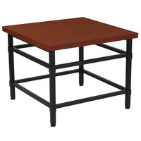 Flash Furniture NAN-JH-1794ET-GG Granada Hills 23 1/2 inch x 23 1/2 inch x 19 inch Norway Cherry Inlaid Wood Grain End Table with Black Metal Legs