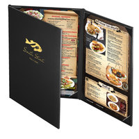 Menu Solutions CD930D Chadwick Collection 8 1/2 inch x 14 inch Customizable Leather-Like 3 View Continuous Menu Cover