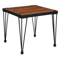 Flash Furniture NAN-JH-1791ET-GG Baldwin 23 1/2 inch x 23 1/2 inch x 21 1/2 inch Rustic Walnut Burl Side Table with Black Metal Legs