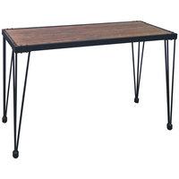Flash Furniture NAN-JH-1791ST-GG Baldwin 47 1/4 inch x 17 1/4 inch x 29 1/2 inch Rustic Walnut Burl Console Table with Black Metal Legs