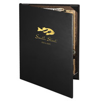 Menu Solutions CD920D Chadwick Collection 8 1/2 inch x 14 inch Customizable Leather-Like 2 View Booklet Menu Cover
