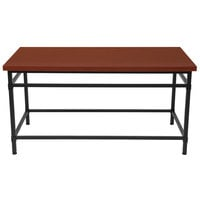 Flash Furniture NAN-JH-1794CT-GG Granada Hills 47 1/4 inch x 23 1/2 inch x 24 inch Norway Cherry Inlaid Wood Grain Coffee Table with Black Metal Legs