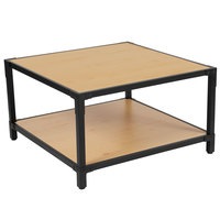 Flash Furniture NAN-JH-1797CT-GG Holmby 31 1/4 inch x 31 1/4 inch x 18 inch Knotted Pine 2 Level Coffee Table with Black Metal Legs