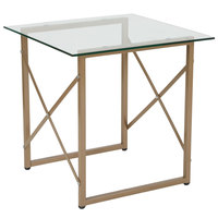 Flash Furniture NAN-JH-1796ET-GG Mar Vista 21 1/2 inch x 21 1/2 inch x 21 1/2 inch Glass Side Table with Matte Gold Frame