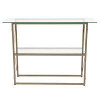 Flash Furniture NAN-JH-1796ST-GG Mar Vista 43 1/4 inch x 13 3/4 inch x 32 inch Glass 2 Level Console Table with Matte Gold Frame