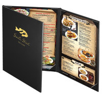 Menu Solutions CD930C Chadwick Collection 8 1/2 inch x 11 inch Customizable Leather-Like 3 View Continuous Menu Cover