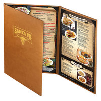 Menu Solutions BEL55C Bella Collection 4 1/4 inch x 8 1/2 inch x 11 inch Customizable Soft Leather-Like 3 View Gatefold Continuous Menu Cover