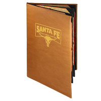 Menu Solutions BEL60B Bella Collection 5 1/2 inch x 11 inch Customizable Soft Leather-Like 6 View Booklet Menu Cover