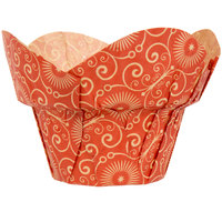 Enjay BC-ROUNDWRAP-REDPTD160 2 inch x 2 3/4 inch Red Mariposa Print Lotus / Crown Baking Cup - 100/Pack