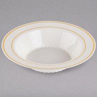 Fineline Silver Splendor 512-BO Bone / Ivory 12 oz. Plastic Soup Bowl with Gold Bands - 15/Pack