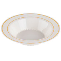 Fineline Silver Splendor 512-BO Bone / Ivory 12 oz. Plastic Soup Bowl with Gold Bands - 15/Pack