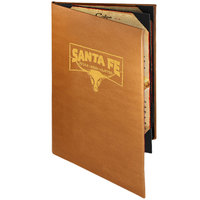Menu Solutions BEL40B Bella Collection 5 1/2 inch x 11 inch Customizable Soft Leather-Like 4 View Booklet Menu Cover