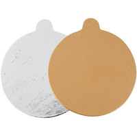 Enjay .045-4RTBHGS 4 inch Silver and Gold Reversible Round Single Serve Dessert Board with Tab   - 10/Pack