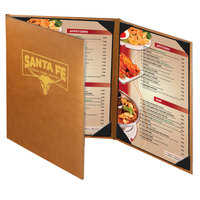 Menu Solutions BEL30C Bella Collection 8 1/2 inch x 11 inch Customizable Soft Leather-Like 3 View Continuous Menu Cover