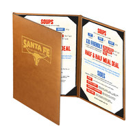 Menu Solutions BEL30B Bella Collection 5 1/2 inch x 11 inch Customizable Soft Leather-Like 3 View Continuous Menu Cover