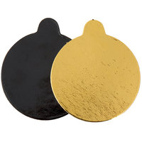 Enjay .045-314RTGB 3 1/4 inch Black and Gold Reversible Round Single Serve Dessert Board with Tab   - 10/Pack