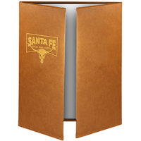 Menu Solutions BEL55D Bella Collection 4 1/4 inch x 8 1/2 inch x 14 inch Customizable Soft Leather-Like 3 View Gatefold Continuous Menu Cover