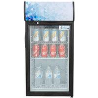 Avantco CLM80 Black Countertop Display Refrigerator with Swing Door and Merchandising Panel