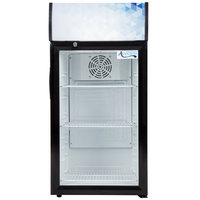 Avantco CLM80 Black Countertop Display Refrigerator with Swing Door and Merchandising Panel