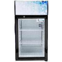 Avantco CLM52 Black Countertop Display Refrigerator with Swing Door and Merchandising Panel