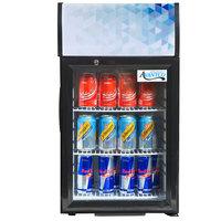 Avantco CLM40 Black Countertop Display Refrigerator with Swing Door and Merchandising Panel