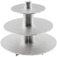 Enjay CS-SILVER 3-Tier Disposable Silver Cupcake Treat Stand