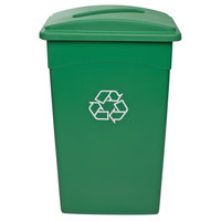 Continental 23 Gallon Green Wall Hugger / Slim Recycle Bin with Slotted Lid